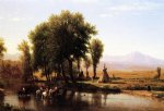 thomas worthington whittredge acrylic paintings - indian encampment on the platte river by thomas worthington whittredge