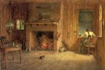thomas worthington whittredge acrylic paintings - the club house sitting room at balsam lake catskills by thomas worthington whittredge