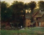 thomas worthington whittredge acrylic paintings - the mill simsbury conn. by thomas worthington whittredge