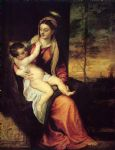 titian watercolor paintings - mary with the christ child by titian