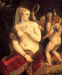 titian watercolor paintings - venus in front of the mirror by titian