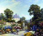 famous acrylic paintings - a parisian garden by tom mostyn