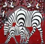 zebra posters - african zebra family by unknown artist