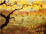 unknown artist apple tree with red fruit painting-76946
