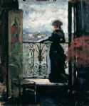 unknown artist lady on a balcony by albert edelfelt painting 80055