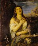titian watercolor paintings - penitent mary magdalen by titian by unknown artist