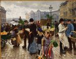 unknown artist famous paintings - poul fischer hojbroplads in april by unknown artist