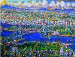 unknown artist vancouver island lions gate bridge painting-84755
