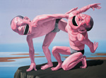 yue minjun laugh mens paintings
