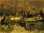 victor gabriel gilbert watercolor paintings - a parisian market by victor gabriel gilbert