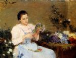 victor gabriel gilbert watercolor paintings - arranging flowers for a spring bouquet by victor gabriel gilbert