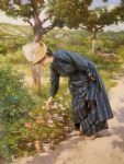 victor gabriel gilbert watercolor paintings - lady in a garden by victor gabriel gilbert