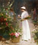 flowers original paintings - picking flowers by victor gabriel gilbert