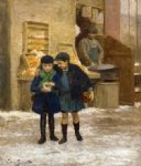 victor gabriel gilbert watercolor paintings - sharing the treats by victor gabriel gilbert