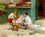 victor gabriel gilbert watercolor paintings - the favourite teddy bear by victor gabriel gilbert