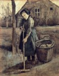 vincent van gogh a girl raking painting