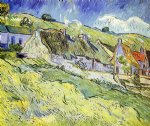 vincent van gogh a group of cottages painting-24022