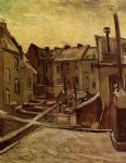 house art - backyards of old houses in antwerp in the snow by vincent van gogh