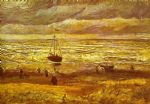 vincent van gogh beach with figures and sea with a ship paintings 77543