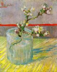 blossoming almond branch in a glass by vincent van gogh paintings