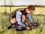 vincent van gogh boy cutting grass with a sickle painting
