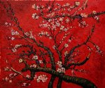 vincent van gogh branches of an almond tree in blossom artist interpretation in red painting 23382