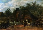 vincent van gogh cottage and woman with goat painting-23405