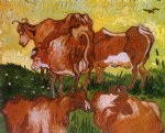 cow art - cows after jorsaens by vincent van gogh