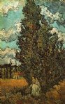 women art - cypresses and two women by vincent van gogh