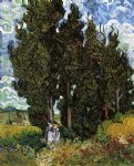 women art - cypresses with two women by vincent van gogh