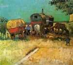 encampment of gypsies with caravans by vincent van gogh painting