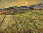 vincent van gogh enclosed field with rising sun posters