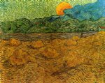 evening landscape with rising moon by vincent van gogh painting
