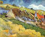 farm watercolor paintings - farmer huts in auvers by vincent van gogh