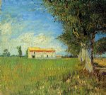 house art - farmhouse in a wheat field by vincent van gogh
