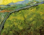vincent van gogh field of spring wheat at sunrise posters
