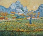 field with pollard trees and mountainous background by vincent van gogh paintings