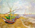 fishing boats on the beach by vincent van gogh painting