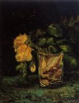 rose art - glass with roses by vincent van gogh