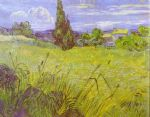 vincent van gogh green wheat field with cypress. saint remy painting