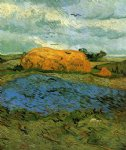 vincent van gogh haystacks under a rainy sky painting 23482