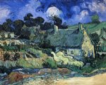 vincent van gogh houses with thatched roofs cordeville painting