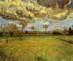 landscape under a stormy sky by vincent van gogh painting