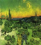 vincent van gogh landscape with couple walking and crescent moon painting