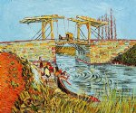 langlois bridge at arles with women washing by vincent van gogh paintings