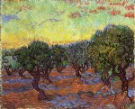 vincent van gogh olive grove orange sky painting 23564