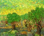 olive grove with picking figures ii by vincent van gogh painting