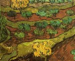 vincent van gogh olive trees against a slope of a hill painting-23573