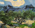 vincent van gogh olive trees with the alpilles in the background painting-23576