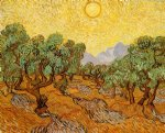 vincent van gogh olive trees with yellow sky and sun painting